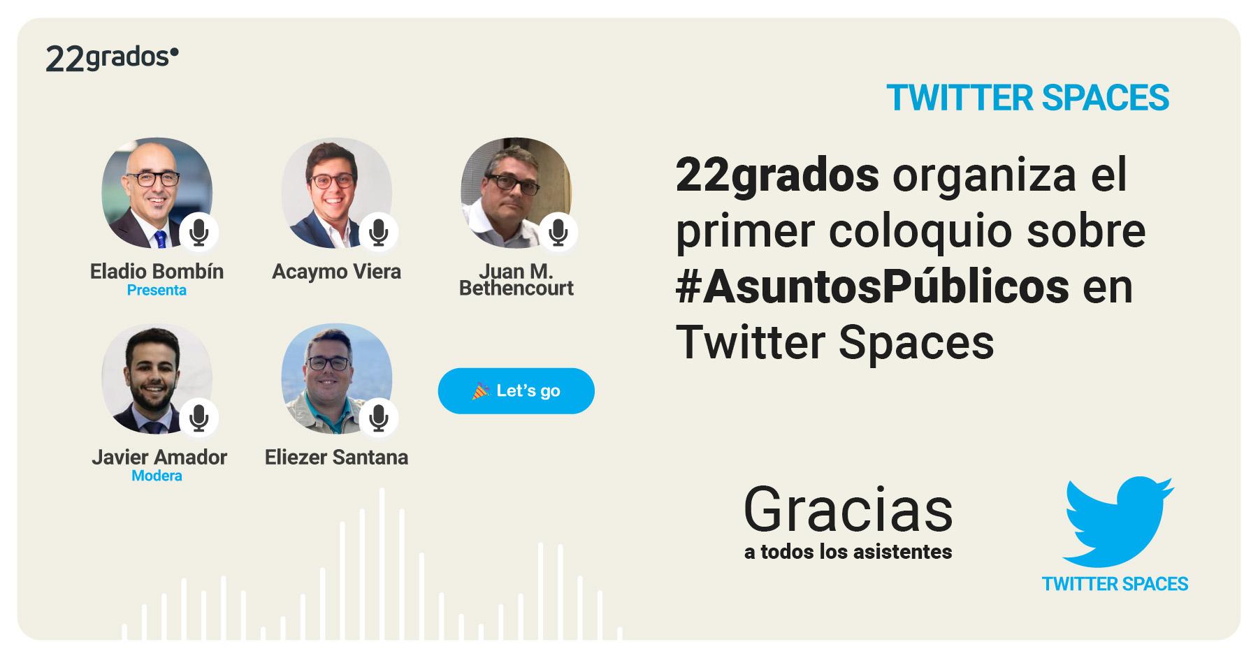 22grados organiza el primer coloquio sobre #AsuntosPúblicos en Twitter Spaces